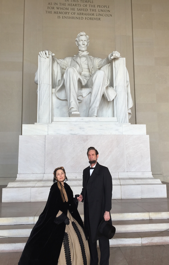 Debra Ann Miller and                           Michael Krebs on the steps of the U.S. Capitol                           for the celebration of Lincoln's First                           Inauguration March 5 2011