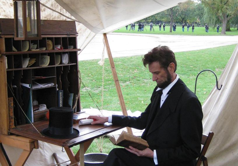 Abraham Lincoln                           presenter Michael Krebs at First Division                           Museum
